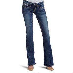 True Religion Joey Dark Wash Flared Twisted Seam Jeans, 28